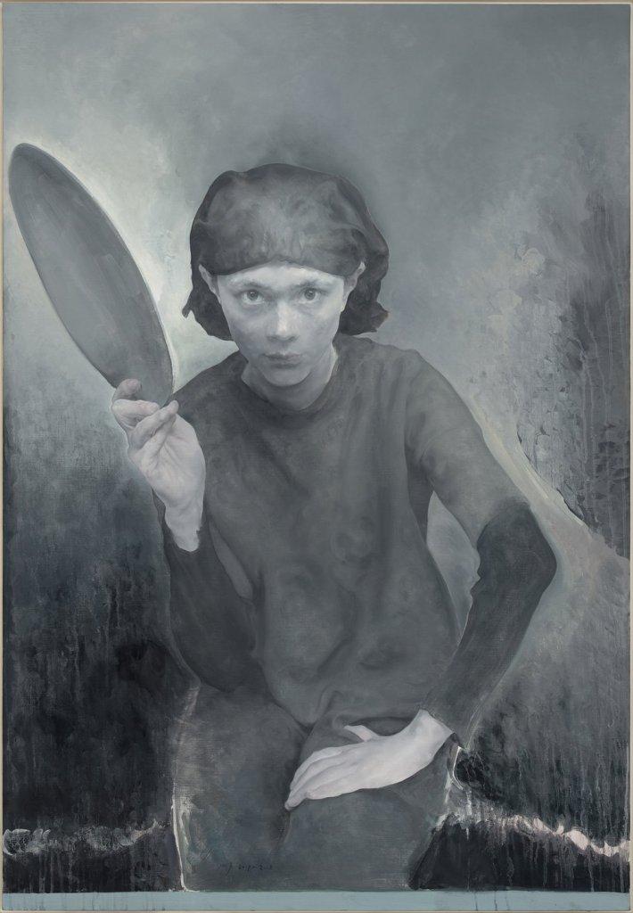 Femme au miroir, 2017-2018, huile sur toile, Mao Yan