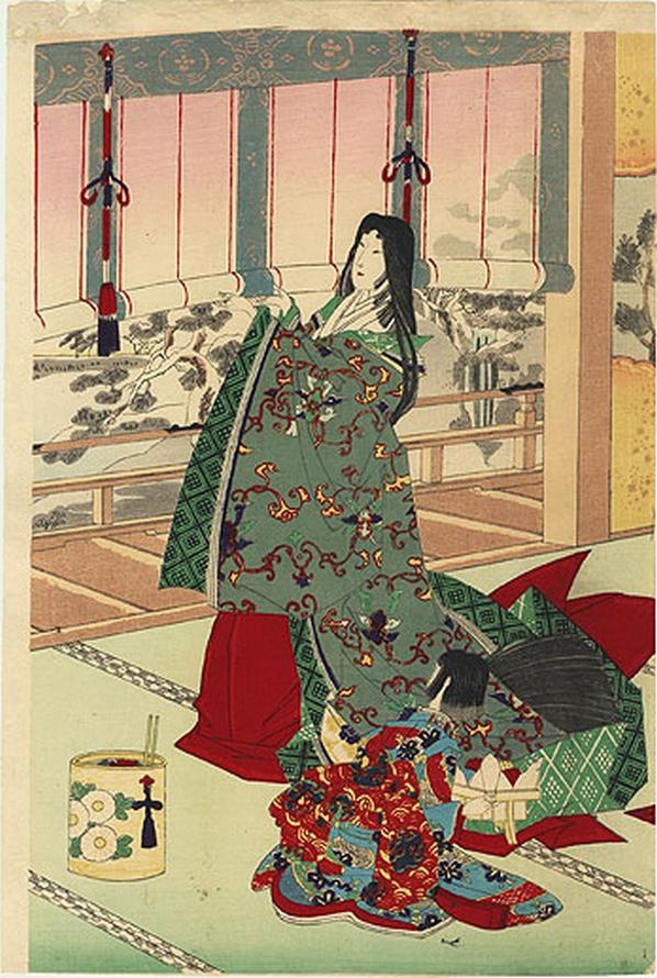 Femmes de cour écrivant un jour de neige (1886), Yôshû Chikanobu (1838-1912)