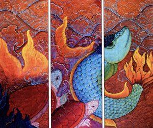 Terre, vent, eau, feu, un poisson et deux tortues, 2000, acrylique sur toile, Phaptawan Suwannakit.