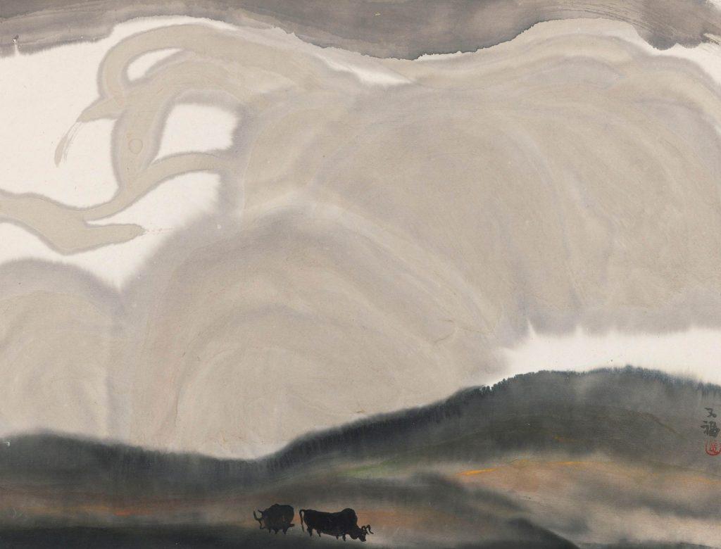 Deux taureaux en paysage encre et couleur sur-papier Jia Youfu