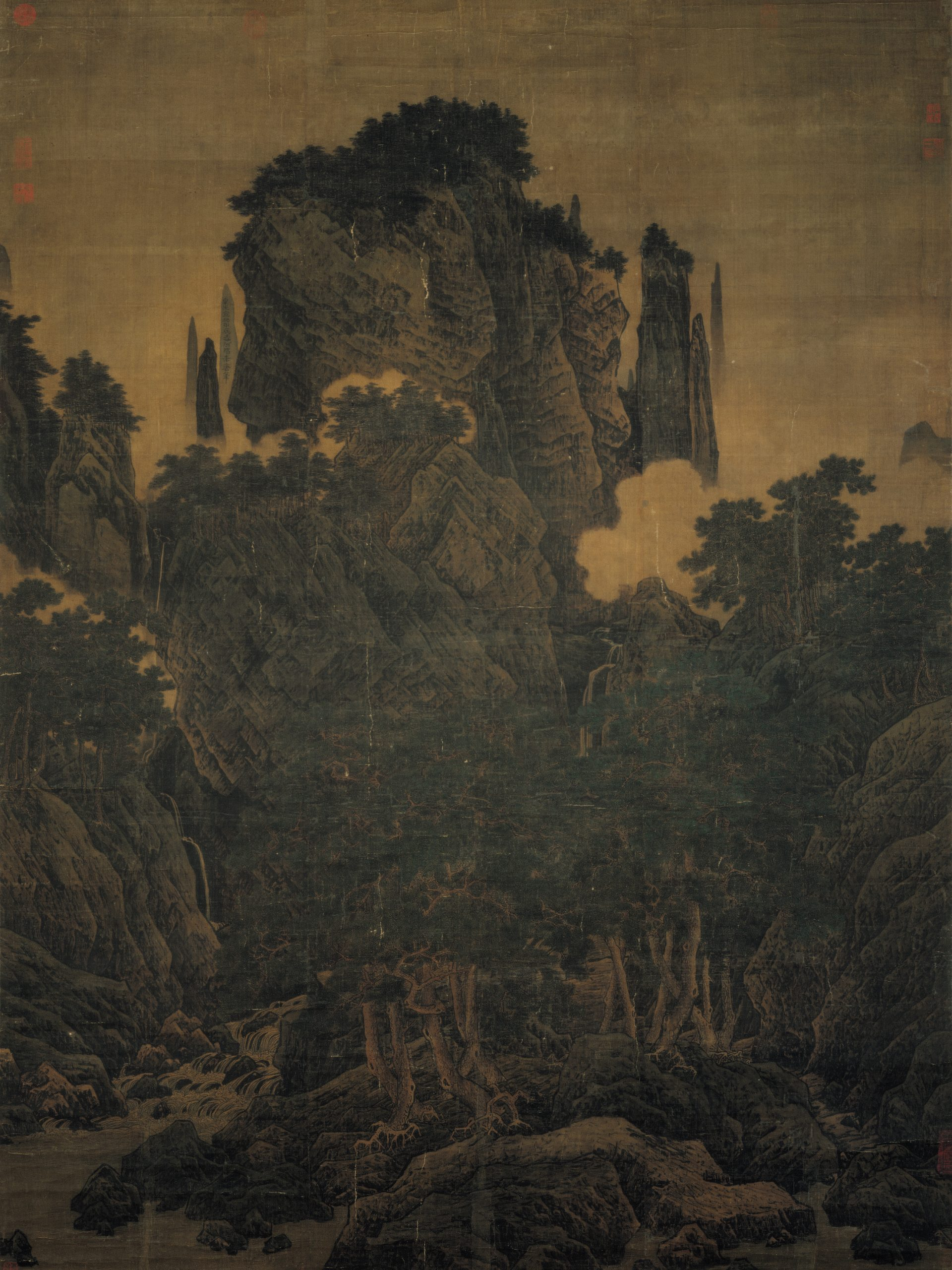 Vent dans les pins parmi une myriade de vallées, 1124, rouleau suspendu, encre et couleurs sur soie, Li Tang