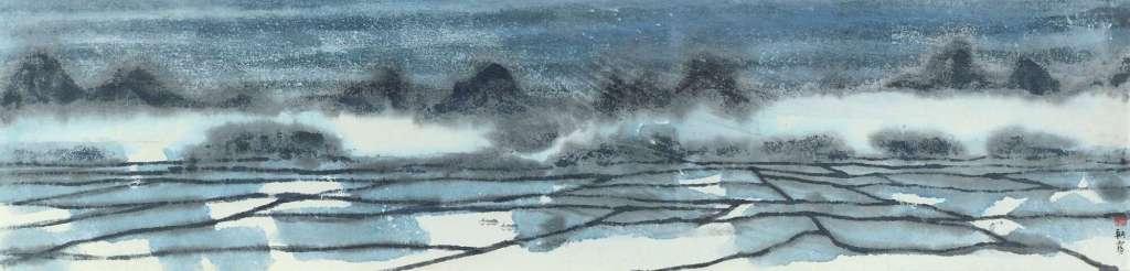 Brume matinale, encre et couleur sur papier, rouleau suspendu, Chen Qikuan