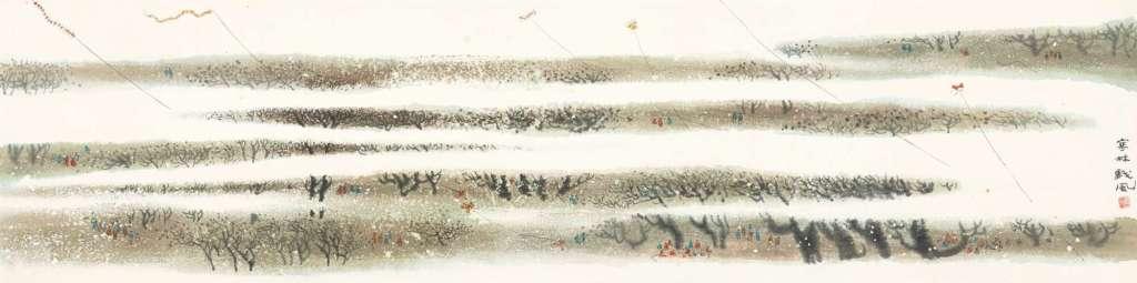 Cerfs-volants, encre et couleur sur papier, rouleau suspendu, Chen Qikuan