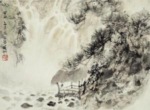 Érudit regardant une cascade, encre et couleur sur papier, Fu Baoshi