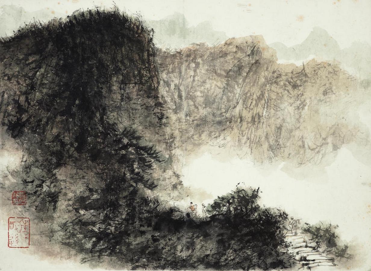 Marcher le long du sentier de montagne, encre et couleur sur papier, Fu Baoshi