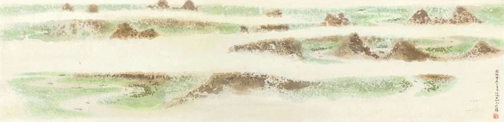 Ruisseaux sinueux, encre et couleur sur papier, rouleau suspendu, Chen Qikuan