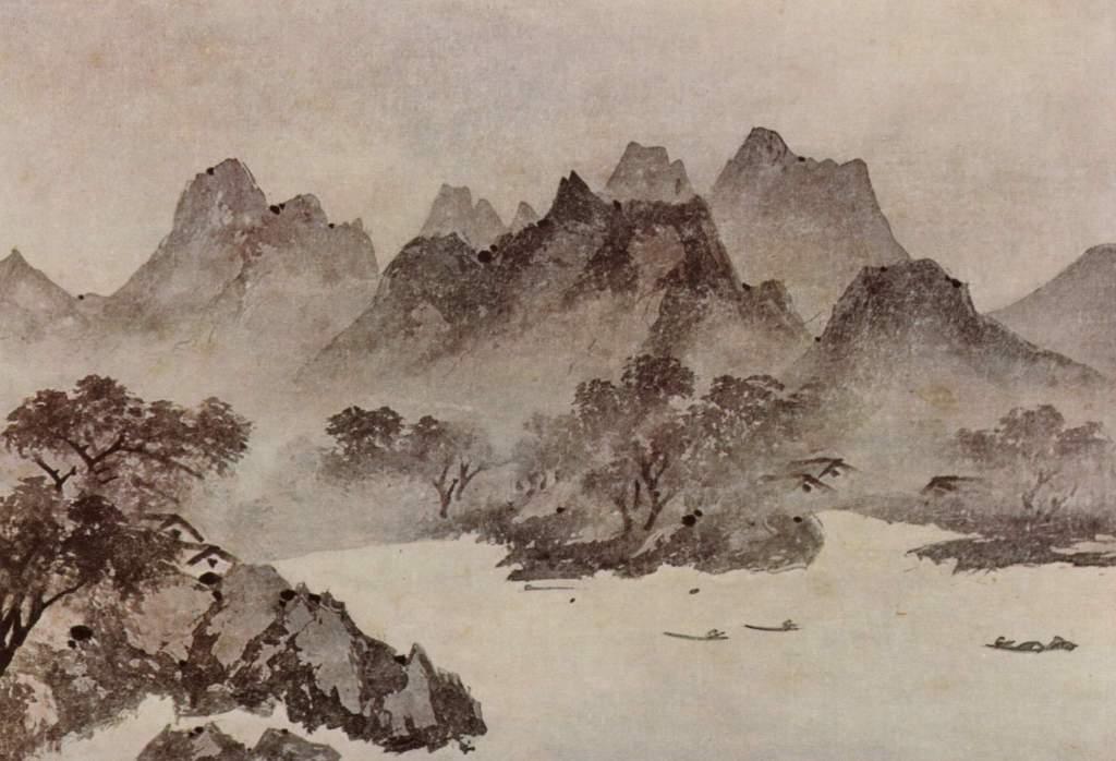 Lumière sur un village de pêcheurs, détail, 牧谿 Mùxī (1210–1269)