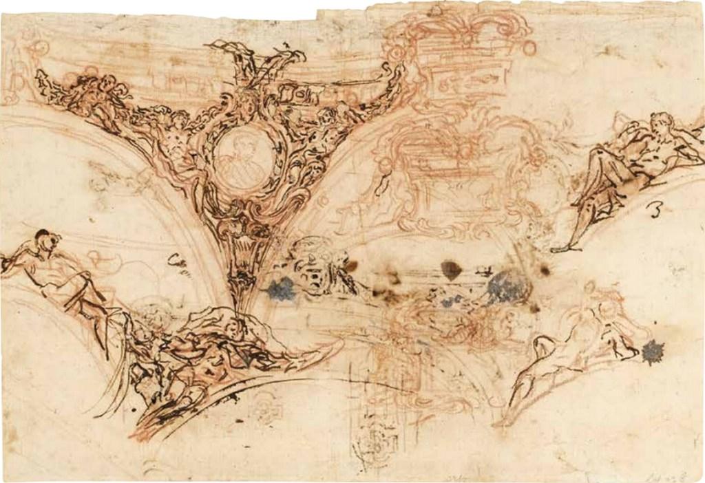Projets de décoration de plafond, sanguine, plume et encre brune, Il Volterrano, recto