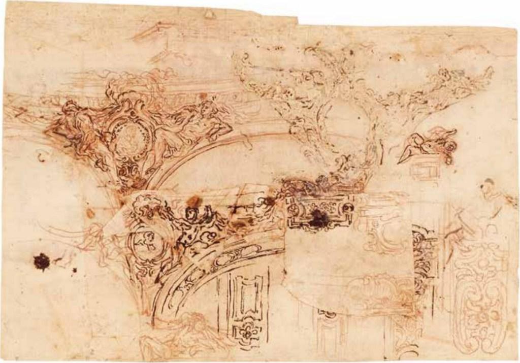 Projets de décoration de plafond, sanguine, plume et encre brune, Il Volterrano, verso