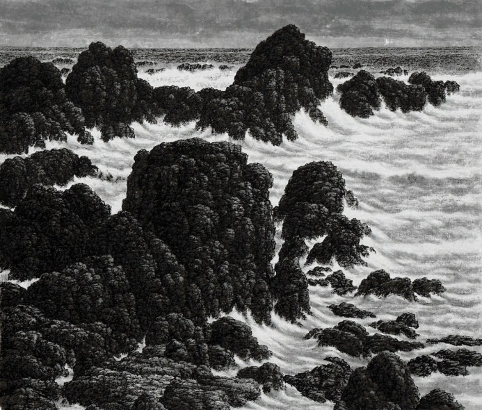 Grand paysage marin, 2003, encre sur papier Xuan, Hsia I-fu
