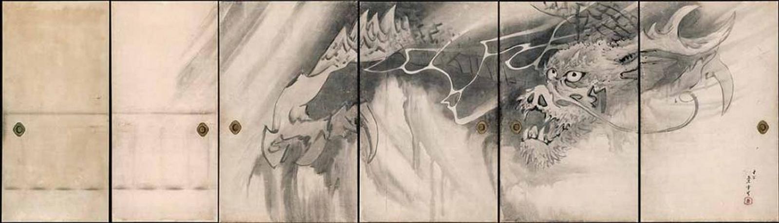 Dragon, 1786, six panneaux coulissants, encre sur papier, Nagasawa Rosetsu