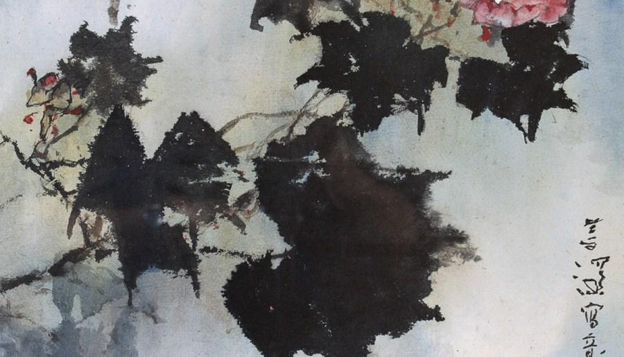 Hibiscus, encre et couleur sur papier, Yang Shanshen
