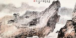 Navire sur le Xiajiang, encre et couleur sur papier, Yang Shanshen