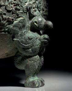Aiguière tripode He finement moulée et couvercle, période des Royaumes combattants, détail