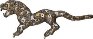 Crochet de ceinture, bronze avec incrustations d'or et d'argent de la dynastie Zhou orientale