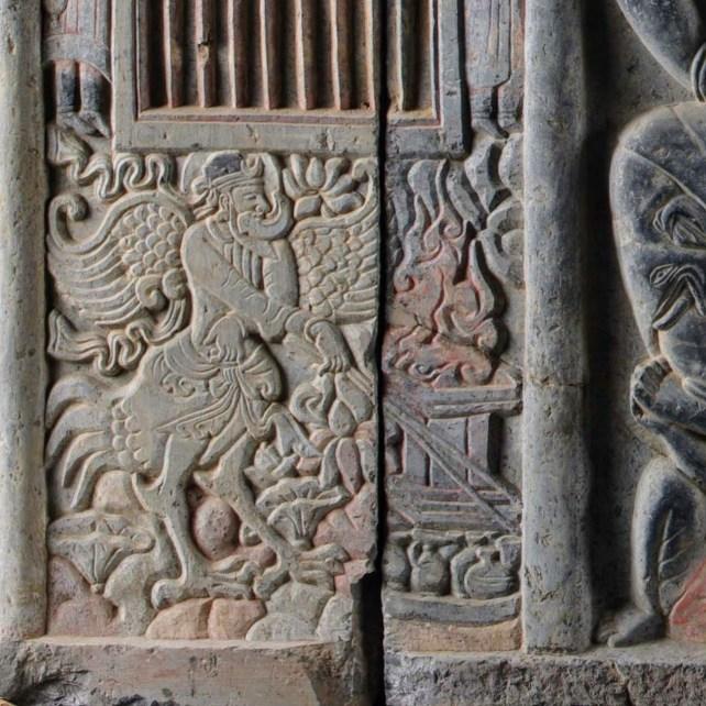 Détail de la façade du sarcophage de Shi Jun et Wiyusi