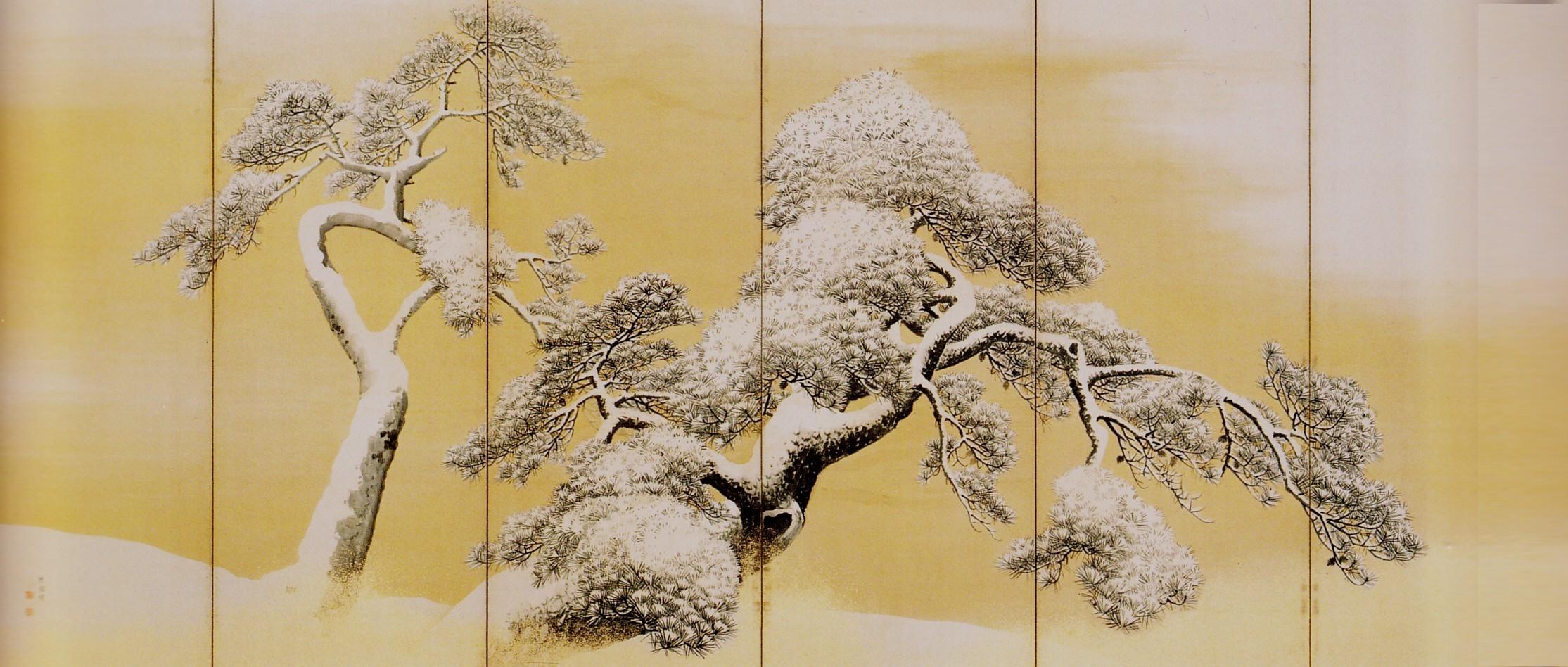 Pins sous la neige, paravent gauche, 1766 , encre, couleurs et poudre d'or sur papier, Maruyama Okyo