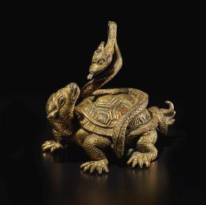 Tortue et serpent en bronze doré, dynastie Song - Ming