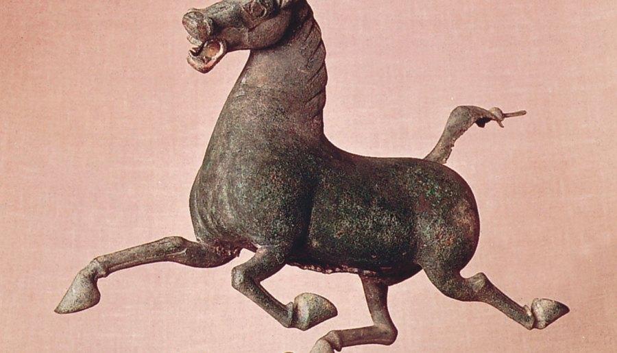 Cheval et hirondelle, sculpture en bronze de la tombe du général Chang, dynastie des Han de l'Est