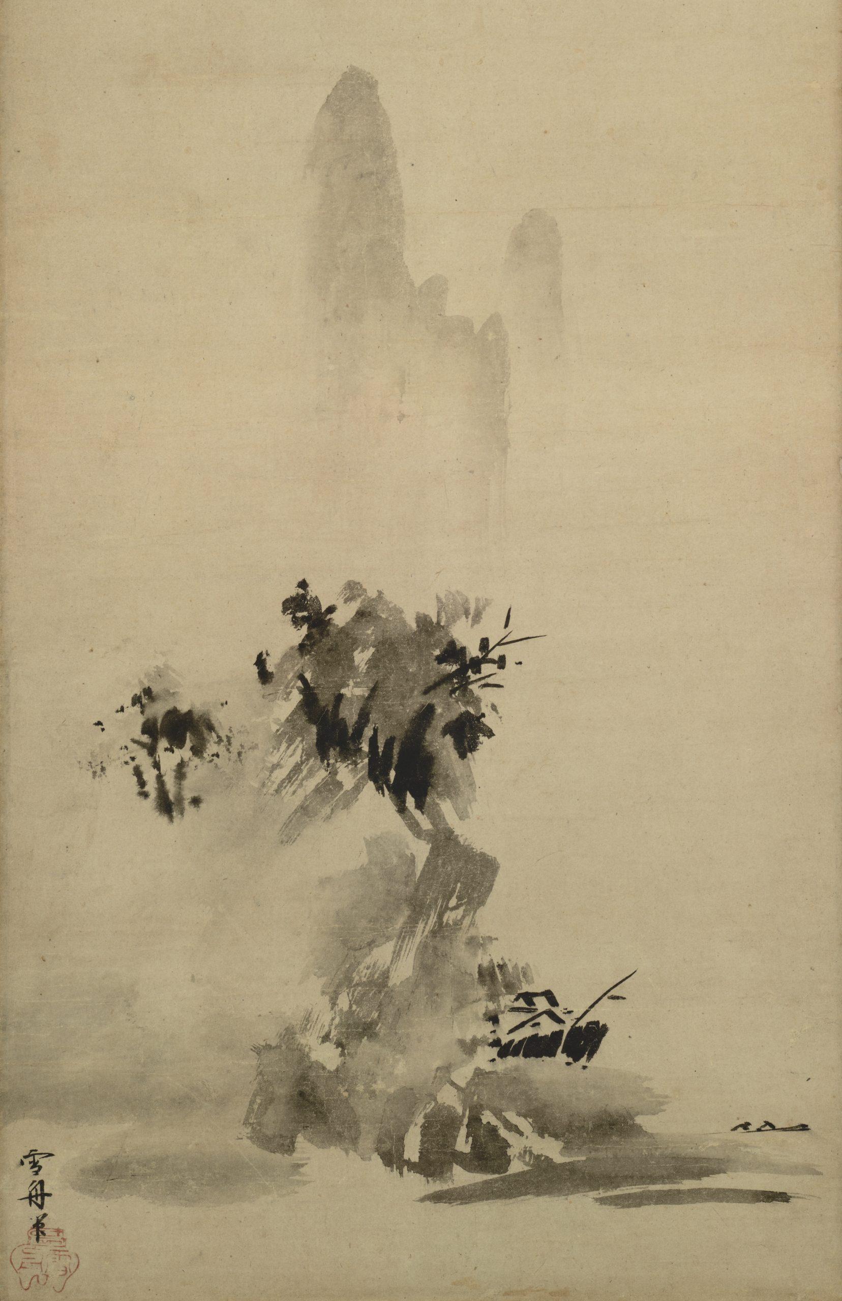 Paysage à l'encre éclaboussée, encre sur papier, 1495, Sesshū Tōyō