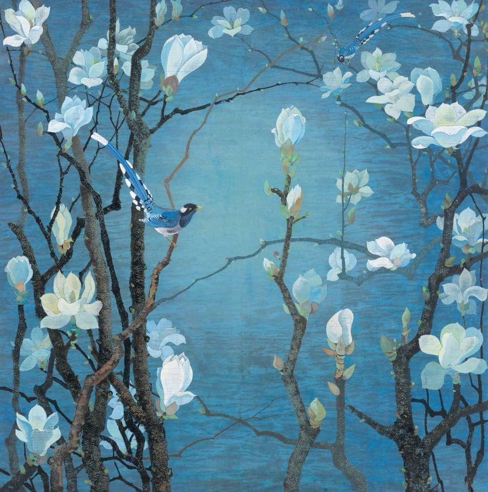 Magnolias et oiseaux sur fond bleu, 1933, Yuan-Yunfu