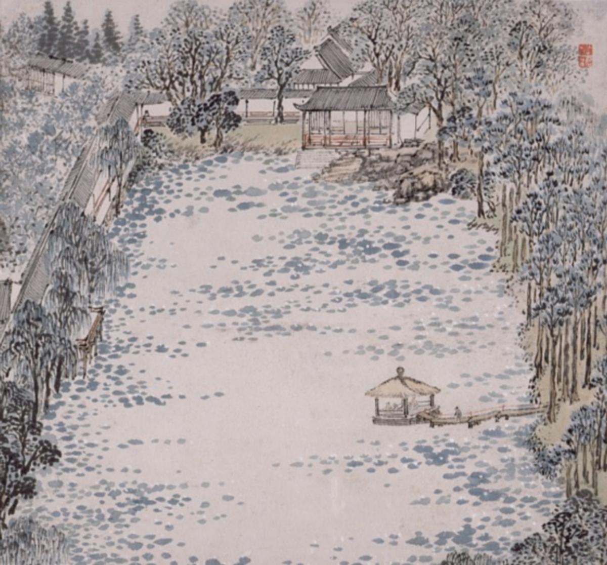 Peintures de Zhi Garden, feuilles d'album, encre et couleur sur papier, Zhang Hong