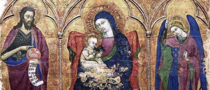 Vierge à l'enfant entre Saint Jean Baptiste et Saint Michel, Barnaba da Modena,1328-1386, Gènes