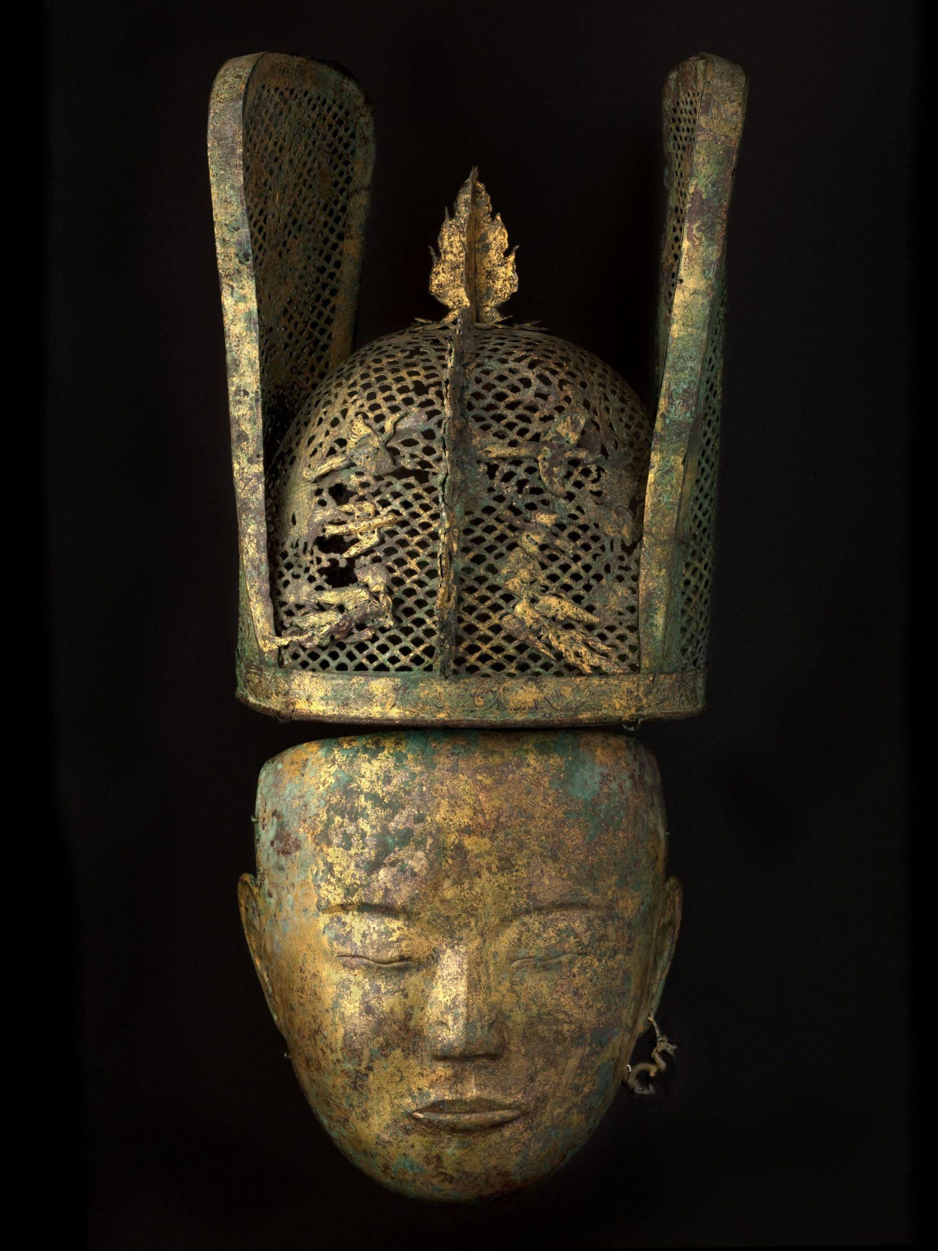 Masque féminin funéraire, bronze, dorure, dynastie des Liao