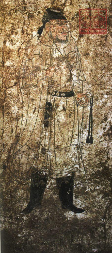 Garde de la cour du VIIIe siècle de la dynastie Tang tenant un sabre à long manche et à tête annulaire