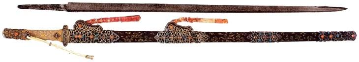 Grand sabre, or et argent, Tang