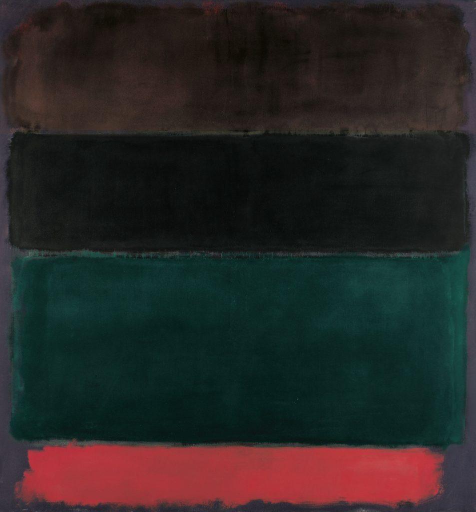 Sans titre (rouge-brun, noir, vert, rouge), huile sur toile, 1968, Mark Rothko