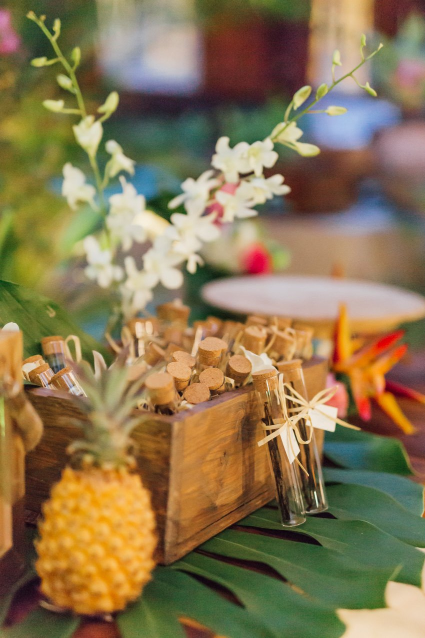 Cadeaux d'invités pour un mariage tropical