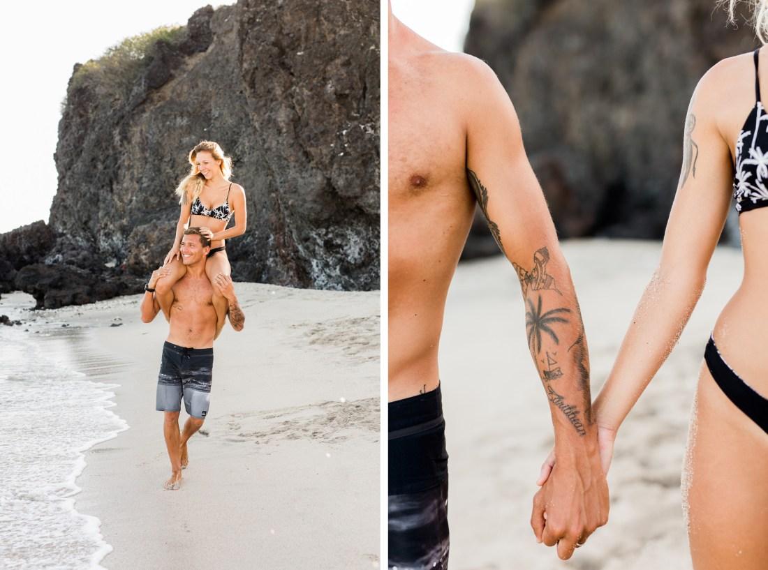 Shooting couple sur une plage de l'île de la Réunion par une photographe professionnelle