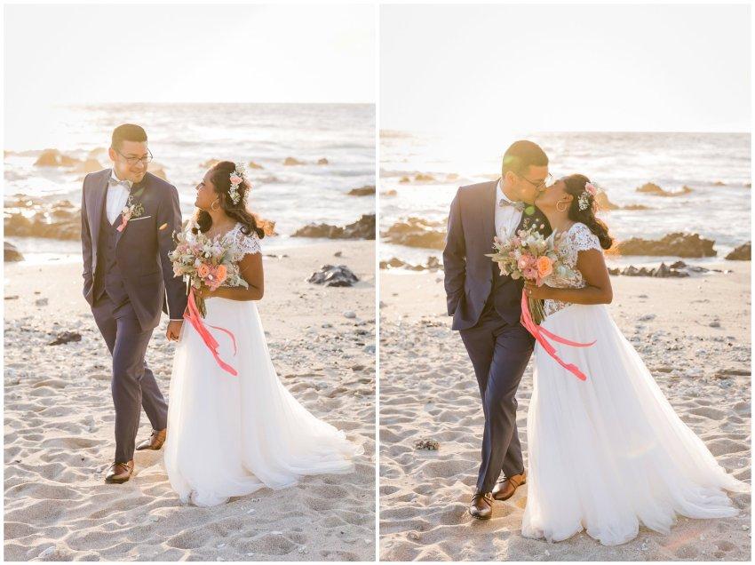Couple qui s'embrasse le jour de leur mariage sur une plage de la Reunion