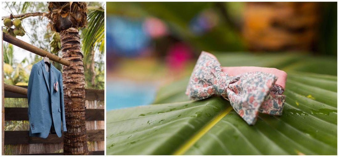 Détails de décoration tropicale d'un mariage