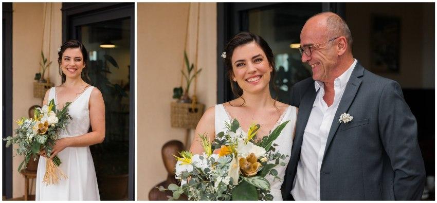 Photo émouvante d'une mariée et son papa