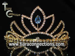 gold tiara with side combs