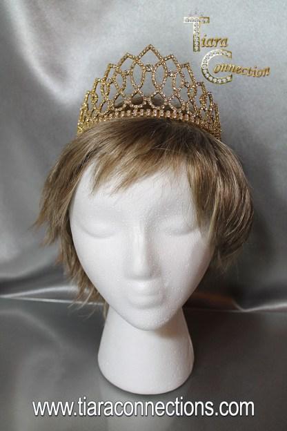 gold tiara on model