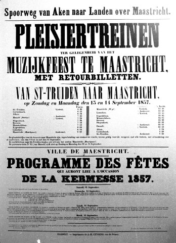 +Affiche uit 1857 met vertrek en aankomsttijden spoortrein