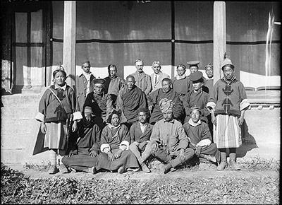 "Photo: The Tibet Album. "" Mission staff outside Dekyi Lingka "". The ..."