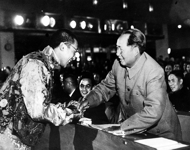 His Holiness with Mao Tse-tung in Beijing in 1954-55