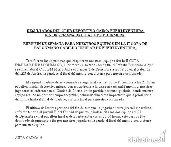 Nota de prensa: C.D. Caima Fuerteventura