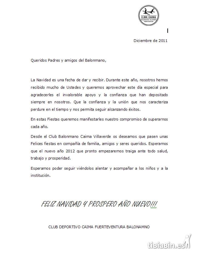 Felicitación Navideña: C.D. Caima