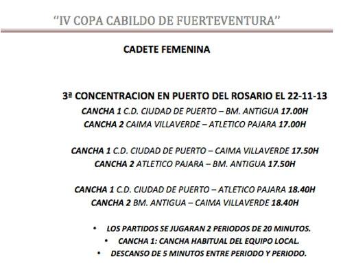 Resultados de la 3ª y 4ª jornada de Copa Cabildo de Fuerteventura de Balonmano,