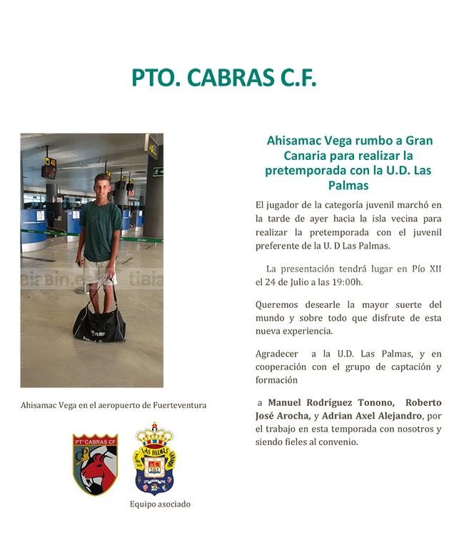 Ahisamac Vega rumbo a Gran Canaria para realizar la pretemporada con la UD Las Palmas