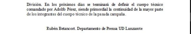 Nota de Prensa U.D. Lanzarote. Cuerpo Técnico
