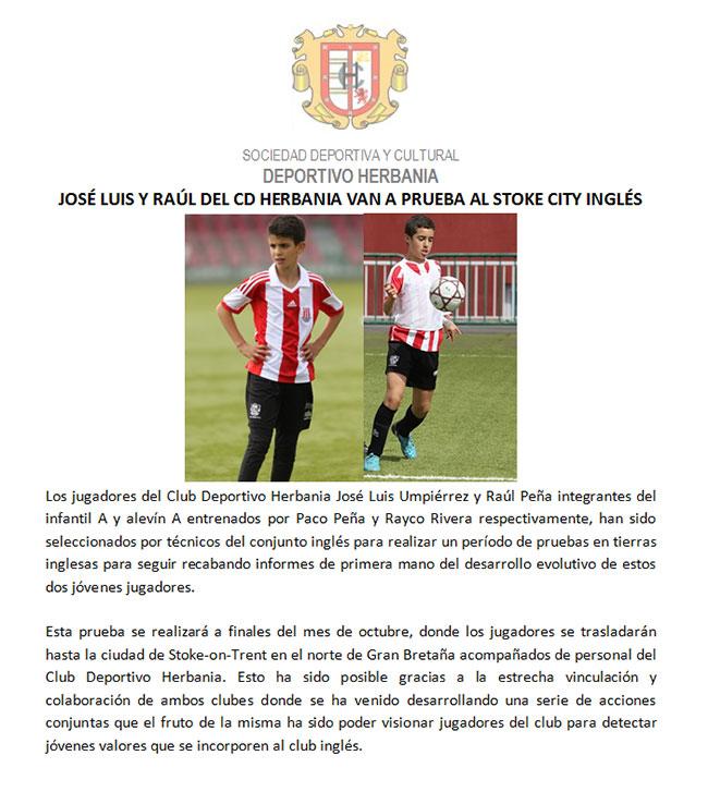 José Luis Umpiérrez y Raúl Peña prueban en el Stoke City