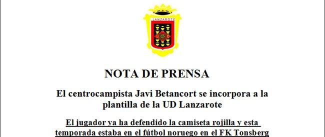 El Centrocampista Javi Betancort se incorpora a la plantilla de la U.D. Lanzarote