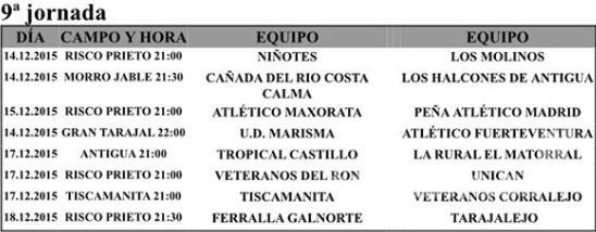 Clasificaciones Liga Veteranos Fuerteventura y Jornada 9ª