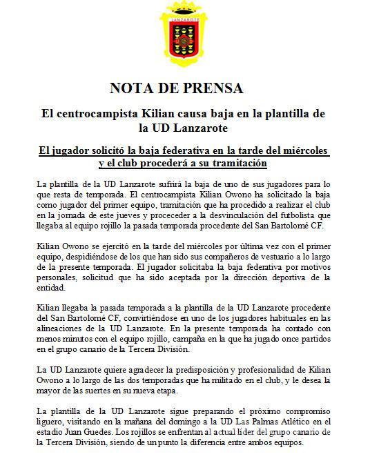 El Centrocampista Kilian causa baja en la U.D. Lanzarote